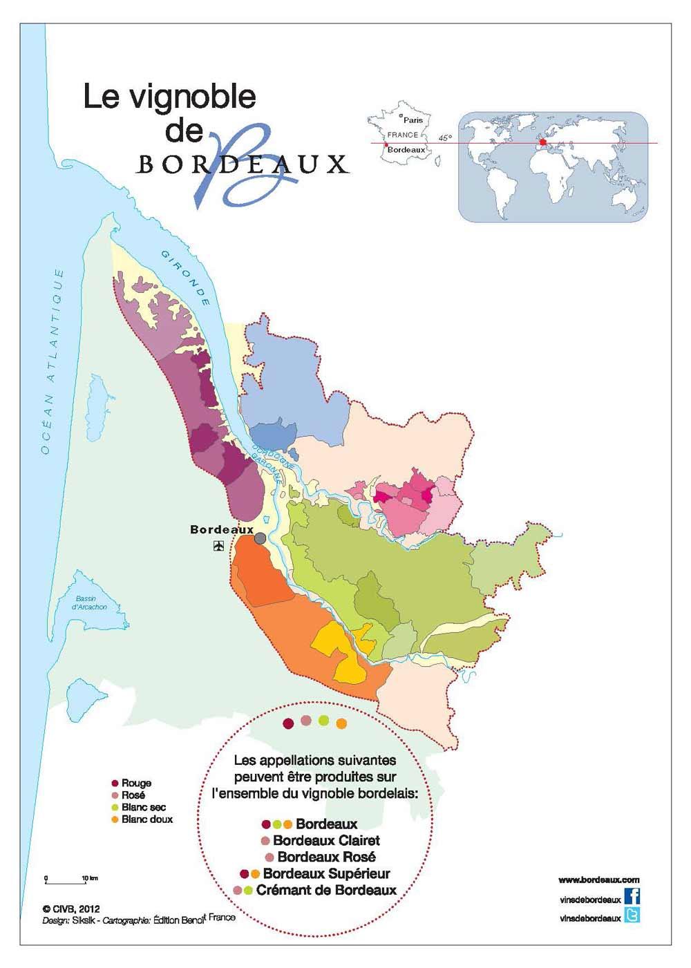 Carte Bordeaux et Bordeaux Supérieur