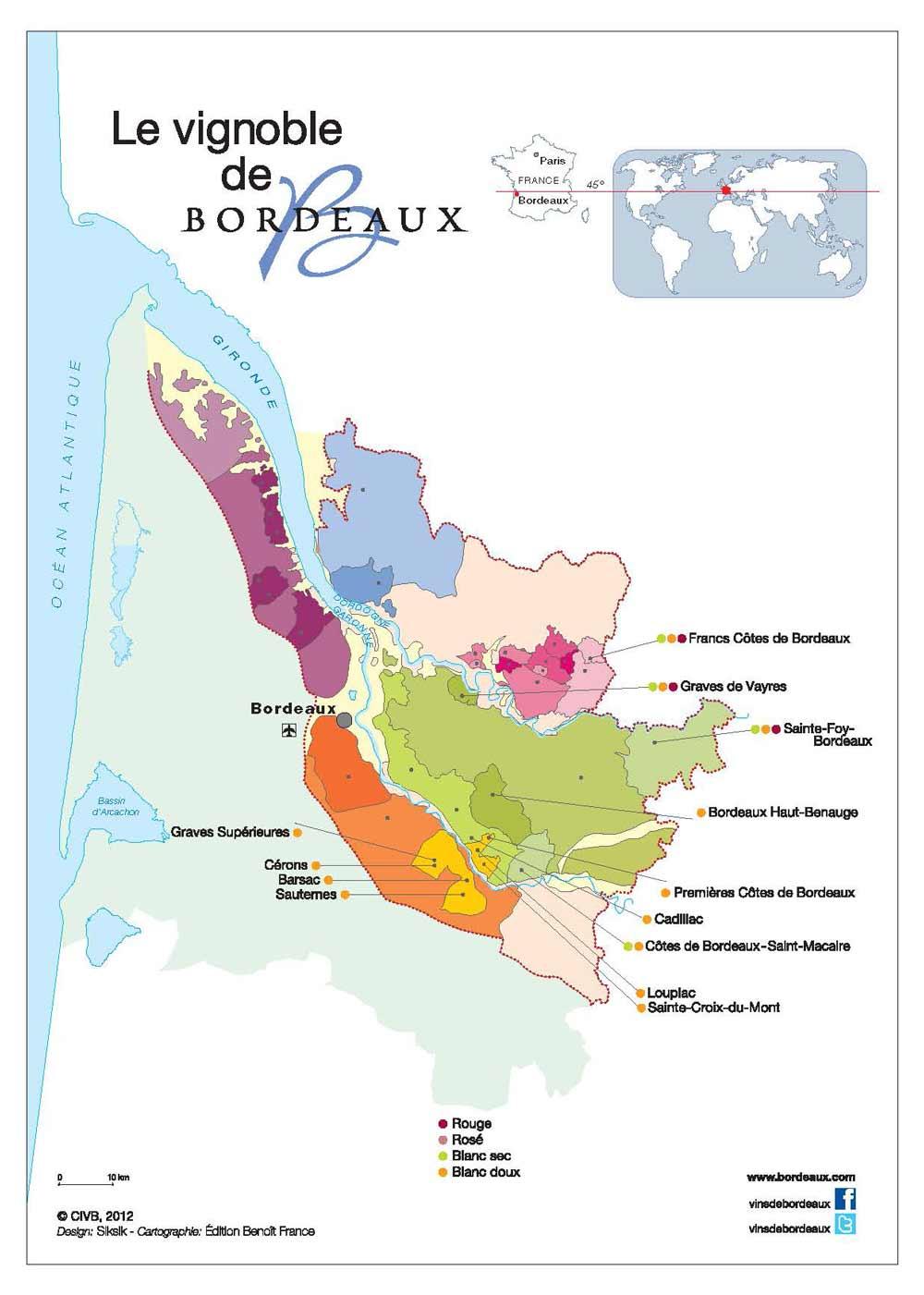 Carte Bordeaux vins blancs doux