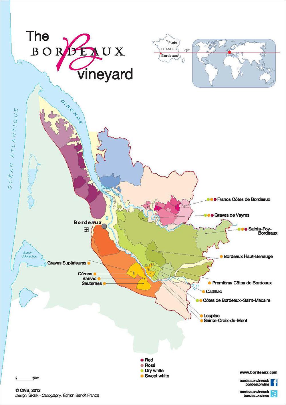 Map Bordeaux vins blancs doux