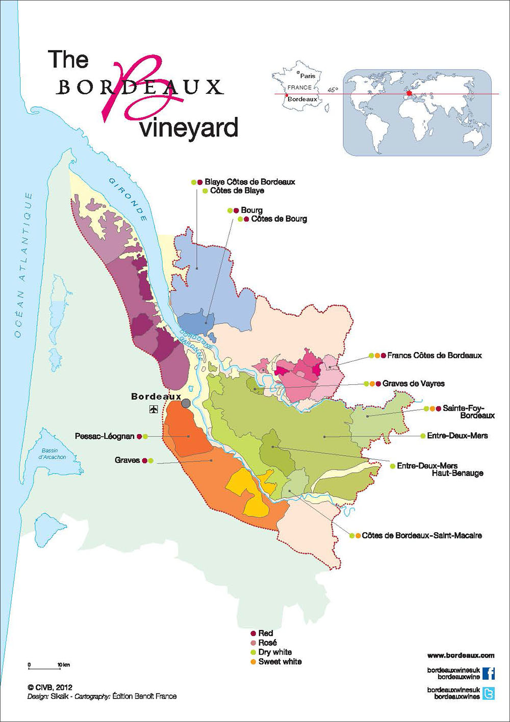 Map Bordeaux Vins Blancs Secs