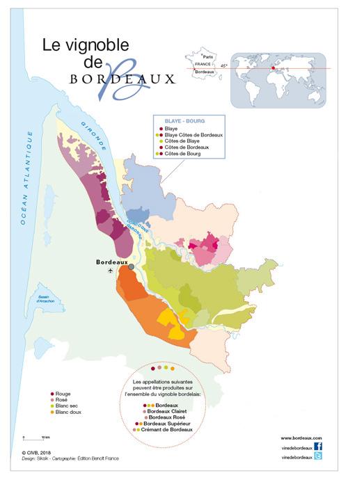 Carte vins des cotes de Bordeaux