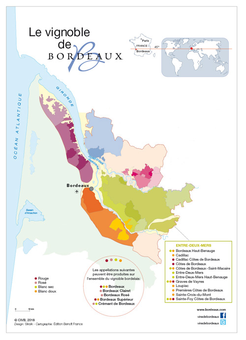 Map Bordeaux Vins Blancs Secs